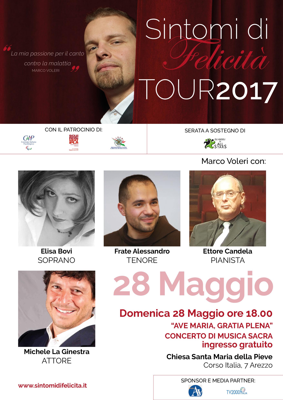 Locandina 28 Maggio 2017 Tour Sintomi di Felicità Arezzo